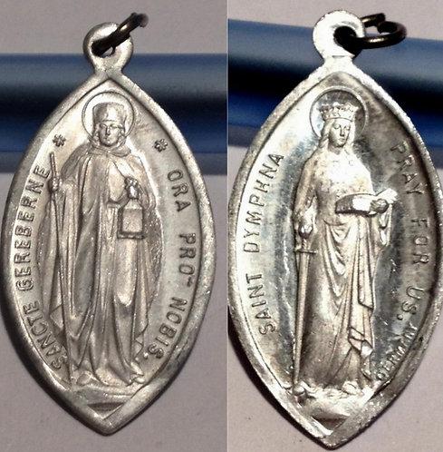 Vintage German Holy Medal Saint Dymphna Saint Gereberne Religious Pendant