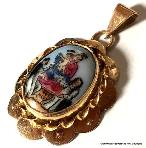 10k Gold Handpainted Porcelain Cameo Ave Maria Virgin Mary Pendant