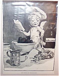 Antique Print Jm Flagg Cooking Cherub Cupid Baking Wedding Cake