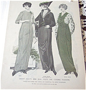 Ladies Fashion Print Illustration Coats & Vests 1914