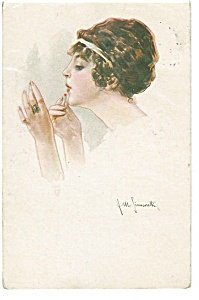 Artist Signed Postcard Simonetti Lady With Lipstick Vanity
