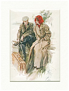 Vintage Travel Print Harrison Fisher Winter Honeymoon