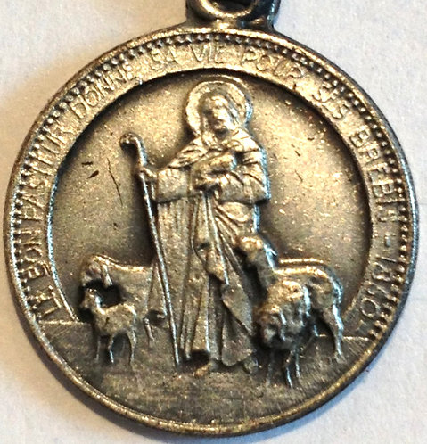 Antique Religious Signed French Holy Medal Our Lady of Notre Dame Jesus