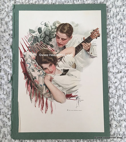 Vintage Harrison Fisher Print Victorian Spring Romance Serenade