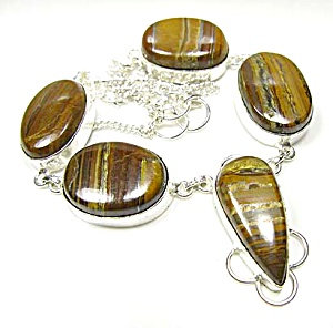 Chunky Tiger Iron Jasper Drop Necklace Sterling Silver