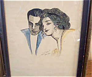 Antique Pen And Ink Watercolor Painting Romance O'neill