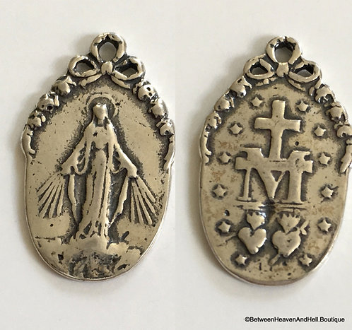 Vintage silver Miraculous Medal Pendant, Our Lady of Grace and Miracles
