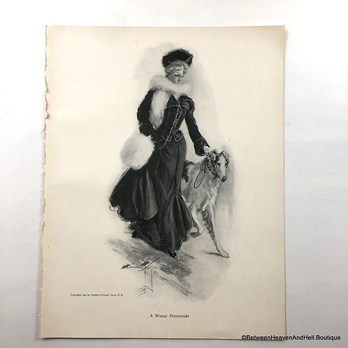 1905 Antique Borzoi Dog Print, Vintage Victorian Lady Russian Wolfhound
