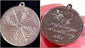 Vintage Franklin Mint Sterling Pendant Snowflake Medallion Poem