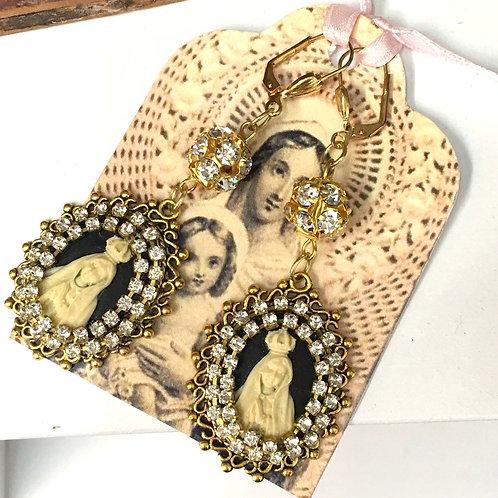 "3"" Long Gold Dangle Rhinestone Cameo Earrings Virgin Mary Fatima Jewelry"
