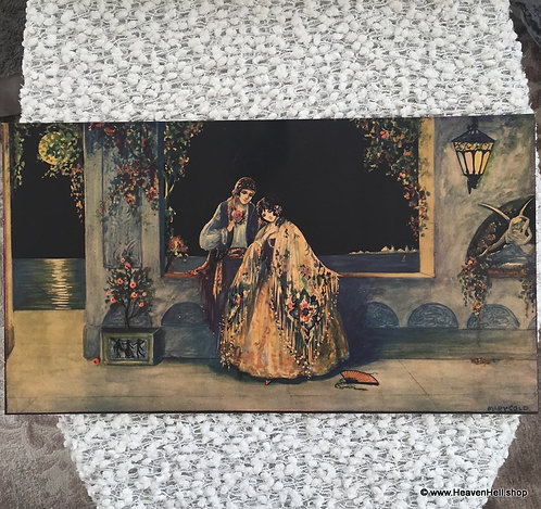 1930's Art Deco Vintage Print Moonlight Lovers Romance Mary Gold
