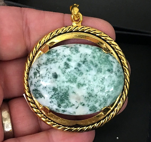 Large Tree Agate Gemstone Pendant: Gold Plated Evil Eye Protection Jewelry