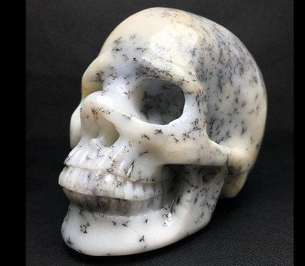 "Rare 3.6"" Dendritic Agate Opal Merlinite Crystal Skull - Heaven & Earth Energy"