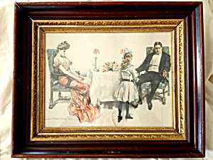 Antique Print Walnut Shadow Box Frame Edwardian Family At Dinner