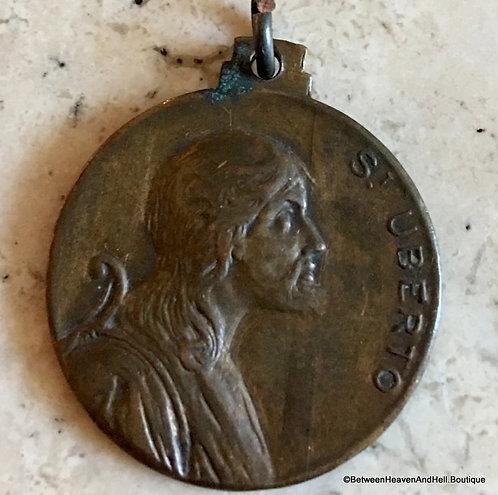 Vintage Holy Medal Signed Bronze Religious Medal Saint Hubert Uberto