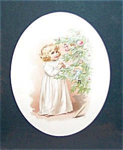 Antique & Vintage Prints Children Christmas Tree Little Girl