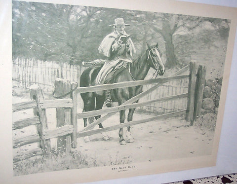 Vintage Art Ab Frost Print Country Man On Horse Scene