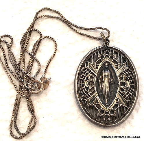Antique Filigree Sterling Silver Miraculous Medal Necklace Our Lady of Grace