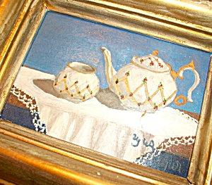 Vintage Victorian Teacup Tea Pot Painting Shabby Accent