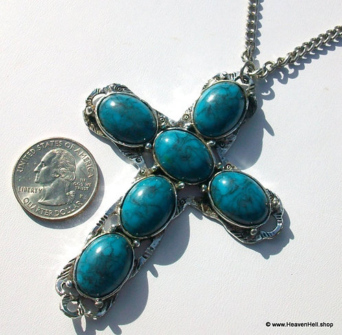 """3.5"""" Large Vintage Turquoise Silver Cross Necklace Christian Religious Jewelry"""
