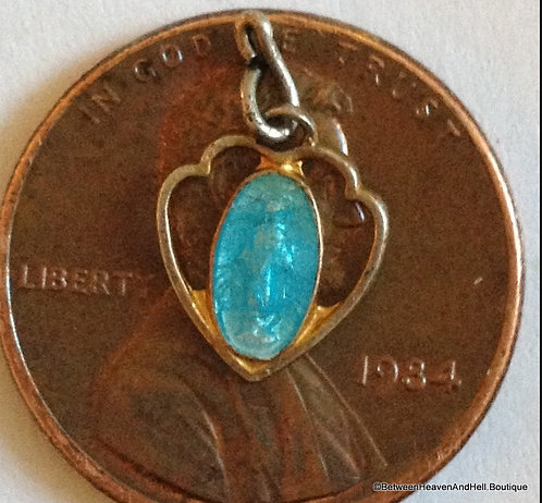 Vintage Gold Plated Sterling Silver Miraculous Medal Heart Blue Enamel Charm