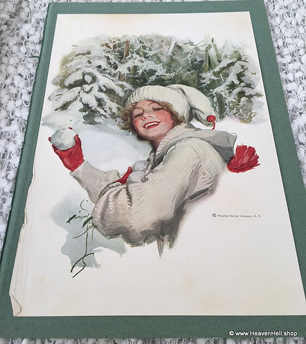 Vintage 1910's Harrison Fisher Print Victorian Snow Girl Winter Sport