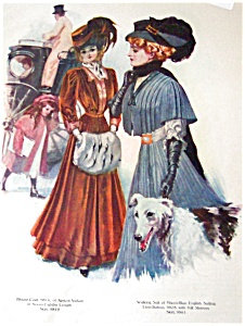 Vintage Illustration: Ladies Fashion Ad: Wolfhound Dog