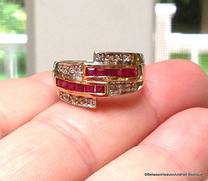 Vintage 10k Gold Ruby Band Ring Channel set Rubies Diamond Accents, Yellow Gold