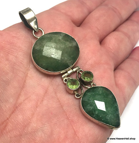 """3"""" Vintage Natural Green Emerald Gemstone Pendant Sterling Silver Jewelry"""