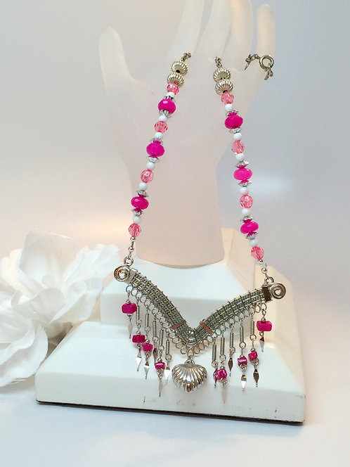 Sexy Princess of Hearts Dangle Necklace with Natural Ruby Gemstone Beads
