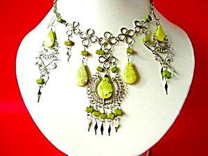 Serpentine Jade Necklace Dangle Earrings Set Silver