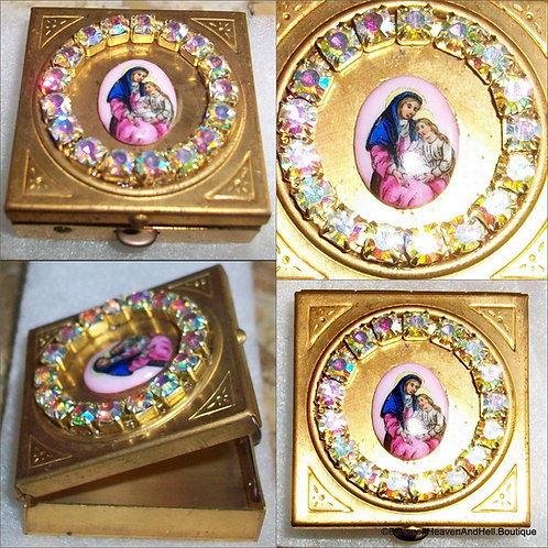 Vintage Jeweled Rosary box Saint Anne Virgin Mary Porcelain cameo