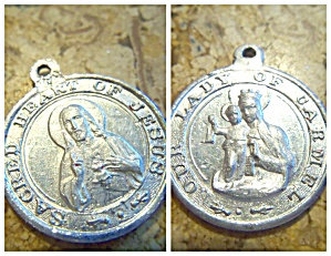 Antique Medal Sacred Heart Of Jesus Our Lady Of Mt. Carmel Italy