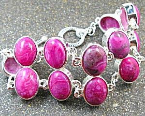 Wide Deep Pink Agate Silver Bracelet