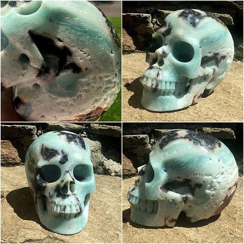 "Huge 7.4Lb Druzy Amazonite Skull - Large 7"" Crystal - Automatic Writing"