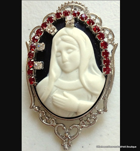 Religious Brooch Pendant: Red Rhinestone Virgin Mary Cameo, handcrafted Jewelry