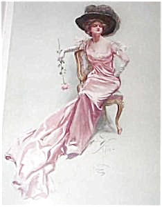 Art Print Victorian Lady Feather Hat Pink Rose Harrison Fisher
