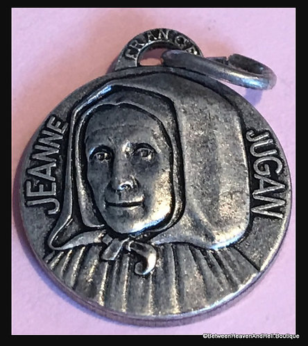 Vintage Small Saint Jeanne Jugan French Medal Religious Jewelry