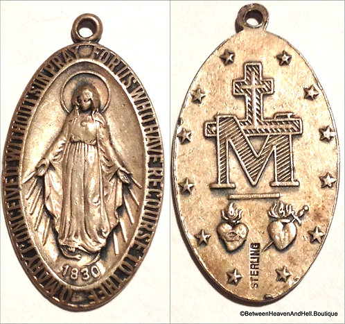 "1.5"" Large Sterling Silver Miraculous Medal Virgin Mary Pendant Men's Ladies"