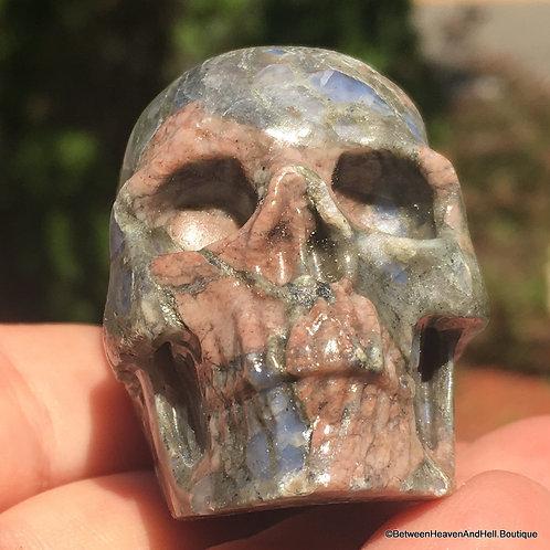 Llanite crystal Skull Que Sera Stone Opalescent Quartz, Past Life Healing Work