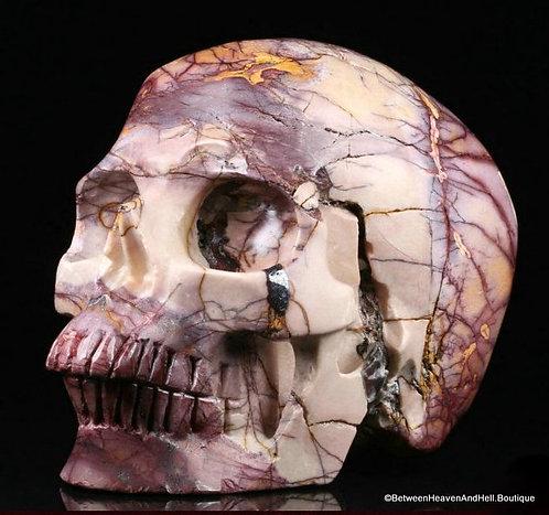 "5"" Large Mookaite Jasper Skull Master Your DESTINY RARE Pink Purple"