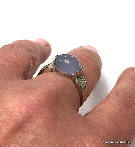 Angelic 14k White Gold Violet Blue Chalcedony Ring, Plumb 14k, Size 9