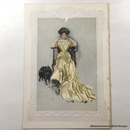 1908 Vintage Pomeranian Dog Art Print Edwardian Woman in Flowing Gown