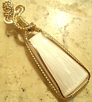 Large Scolecite 14kt Yellow Gold Filled Wire Wrapped Pendant
