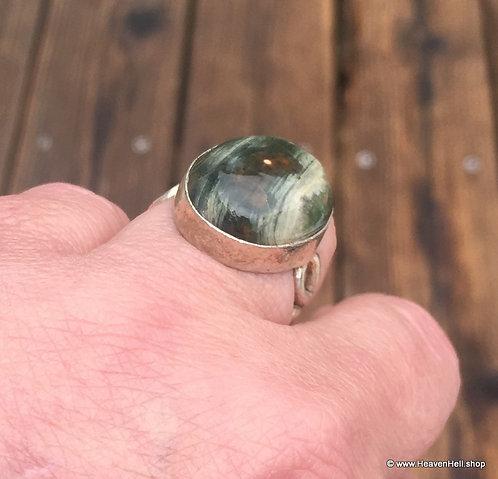 Vintage Orbicular Ocean Jasper Ring Sterling Silver Jewelry Positive Energy