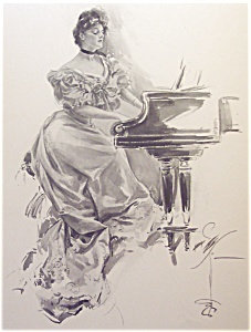 Harrison Fisher Print: Music Singing Victorian Lady Playing Piano