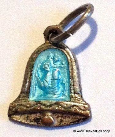 Vintage Tiny Saint Christopher Holy Medal Blue Enamel Silver Religious Jewelry