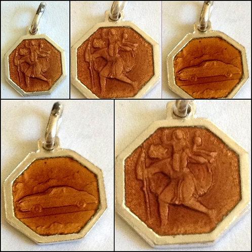 Antique Saint Christopher medal Vintage Car Pendant Brown Enamel Silver