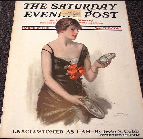 1916 Saturday Evening Post Magazine Cover Art Edwardian WWI Era Romance