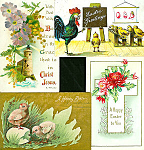 Antique Postcard Easter Lot Religious Rooster Chicks Cross